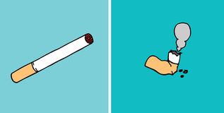Consumed cigarette before and after Royalty Free Stock Photo