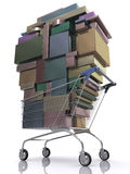 Consumer. Concept of consumer. Shopping cart full of package royalty free illustration