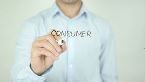 Consumer Affairs, Writing On Transparent Screen. Man writing stock footage