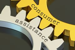 Consumer Assistance concept on the gearwheels, 3D rendering. Consumer Assistance concept on the gearwheels, 3D Stock Photography