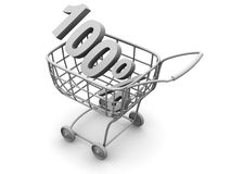Consumer basket with 100 percent Royalty Free Stock Photography