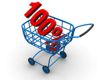 Consumer basket with 100 percent. 3d Very beautiful three-dimensional illustration, figure Stock Photo