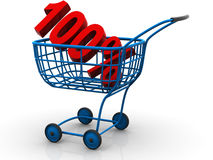 Consumer basket with 100 percent Royalty Free Stock Images