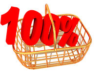Consumer basket with 100 percent. Royalty Free Stock Photos