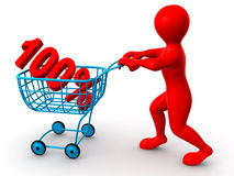 Consumer basket with 100 percent. 3d Stock Image