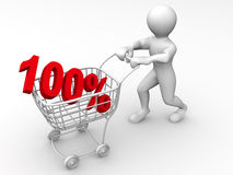 Consumer basket with 100 percent Royalty Free Stock Photos