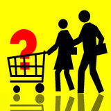 Consumer Basket. Consumers and Question Sign over Yellow Background Royalty Free Stock Image