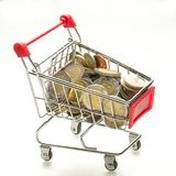 Consumer basket. Concept of the value of the basket of goods and services, consumer basket basis purchase sum or market basket or commodity bundle. shopping royalty free stock photography