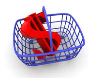 Consumer basket with dollar Royalty Free Stock Images
