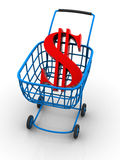 Consumer basket with dollar. 3d Very beautiful three-dimensional illustration, figure Royalty Free Stock Image