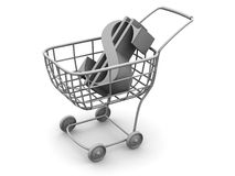 Consumer basket with dollar. 3d Very beautiful three-dimensional illustration, figure Royalty Free Stock Images