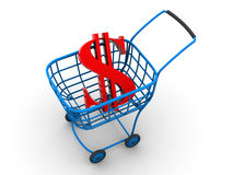 Consumer basket. dollar. 3d Stock Photography