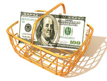 Consumer Basket with dollar. 3d. Very beautiful three-dimensional illustration, figure Stock Photo