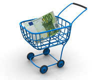Consumer basket with euro. 3d Very beautiful three-dimensional illustration, figure Royalty Free Stock Photography
