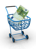 Consumer basket with euro. 3d Very beautiful three-dimensional illustration, figure Royalty Free Stock Images