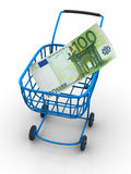 Consumer basket with euro. 3d Very beautiful three-dimensional illustration, figure Stock Photography