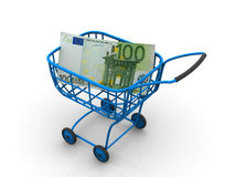 Consumer basket with euro. 3d. Very beautiful three-dimensional illustration, figure Royalty Free Stock Image