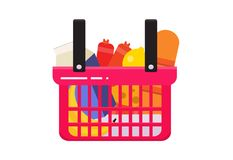 The consumer basket full stock illustration