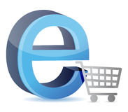 Consumer basket with an internet sign Stock Images