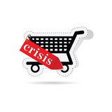 Consumer basket with sign of crisis Royalty Free Stock Photography
