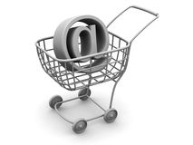 Consumer basket with sign for internet Royalty Free Stock Images