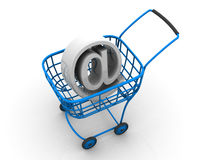 Consumer basket with sign for internet. 3d Very beautiful three-dimensional illustration, figure Stock Image