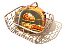 Consumer basket with sign for internet. 3d Royalty Free Stock Image