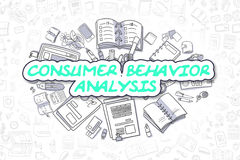 Consumer Behavior Analysis - Business Concept. Consumer Behavior Analysis Doodle Illustration of Green Word and Stationery Surrounded by Cartoon Icons. Business vector illustration