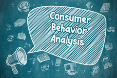 Consumer Behavior Analysis - Business Concept. Yelling Megaphone with Inscription Consumer Behavior Analysis on Speech Bubble. Doodle Illustration. Business vector illustration