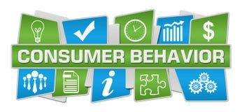 Consumer Behavior Blue Green Up Down Symbols. Consumer behavior text written over green blue background stock illustration