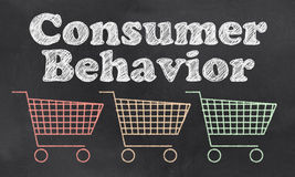 Consumer Behavior. With Carts In Red, Orange and Green royalty free illustration
