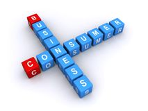 Consumer business. The word ' consumer ' on small cubes and the word ' business ' on identical cubes with the two words linked together by a common letter ' N vector illustration