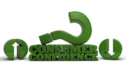 Consumer Confidence. The words Consumer Confidence rendered in 3D lettering with a large question mark royalty free illustration