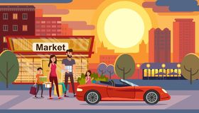 Consumer Credit for Family Flat Vector Concept. Consumer Credit, Car Loan for Young Family Flat Vector Concept with Happy Parents with Kids Leaving Store vector illustration