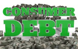 Consumer Debt. The words CONSUMER DEBT rendered in 3D with bundles of american currency Stock Photos