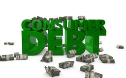 Consumer Debt. The words Consumer Debt rendered in 3D letters with bundles of money Royalty Free Stock Photos
