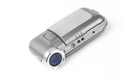 Consumer DV camera. Digital video camera isolated on white. LCD closed Stock Images