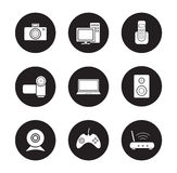 Consumer electronics black icons set Stock Photos