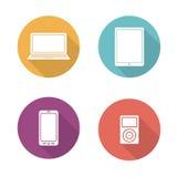Consumer electronics flat design icons set Royalty Free Stock Photos