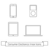 Consumer electronics linear icons. Consumer electronics Outline web icons set Stock Images