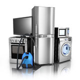 Consumer electronics stell. Consumer electronics.TV,Fridge,vacuum cleaner,microwave,washer and electric-cooker Royalty Free Stock Photos
