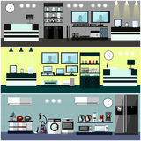 Consumer electronics store Interior. Colorful vector illustration. Design elements and banners in flat style. Stock Photos