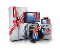 Consumer electronics on white background. Gift modern consumer electronics, Fridge, washer, tv, microwave and electric-cooker. 3d illustration Stock Images