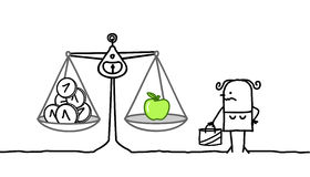 Consumer & expensive apples. Hand drawn cartoon characters - consumer & expensive apples vector illustration