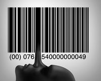 Consumer Fraud. Consumer or customer fraud and deceptive practices as retail fraudulent symbol as a liar long nose as one of the bars in a barcode or upc code in royalty free illustration