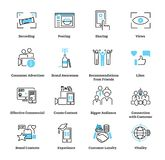 Consumer generated advertising icon collection set. Ad vector illustration. Consumer generated advertising icon collection set. Pictogram vector illustration stock illustration