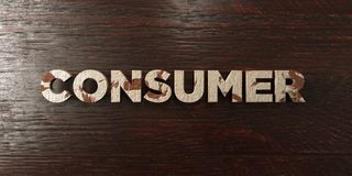 Consumer - grungy wooden headline on Maple - 3D rendered royalty free stock image. This image can be used for an online website banner ad or a print postcard royalty free illustration