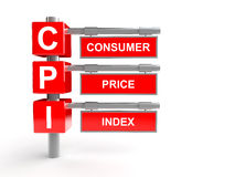 Consumer price index abbreviation. 3d render of consumer price index abbreviation designed on poles Stock Images