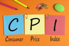 Consumer Price Index Concept. Consumer Price Index words with CPI written on written on color notes with and office supplies. Acronym business concept royalty free stock images