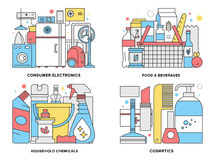 Consumer Products Flat Line Illustration Stock Images